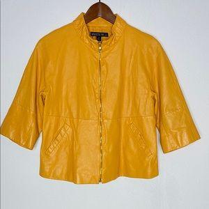 Lafayette 148 Golden Yellow Leather Jacket